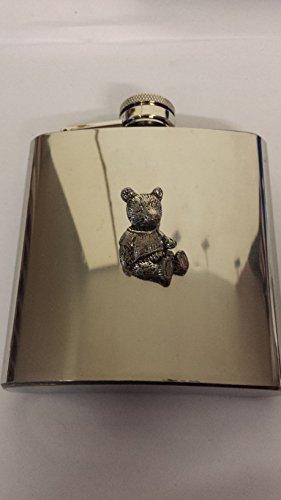 A41 Teddy en étain anglais en Acier Inox 6 oz Flasque en étain avec capuchon attaché et ()