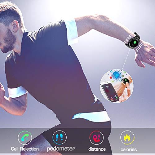 Smartwatch Herren, GOKOO Smart Watch Stylische IP67 Wasserdicht Sportuhren Männer Jungen Fitness Tracker Aktivitätstracker mit Pulsmesser Kalorienzähler Schlaftracker für Android IOS (Schwarz) - 3