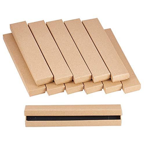 Nbeads 12pcs jewelry set scatola di cartone, per bracciali, collane, rettangolare, 21x 4x 2cm tan