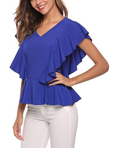 Finejo Damen Sommer Kurzarm T-Shirt Casual Oberteil Tops Bluse Shirt A+Blau