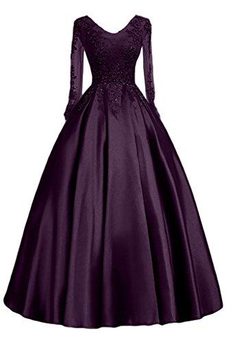 Promgirl House Damen Hochwertig Satin Prinzessin Abendkleider Ballkleider Hochzeitskleider Lang mit Aermel Spitze Dunkellila