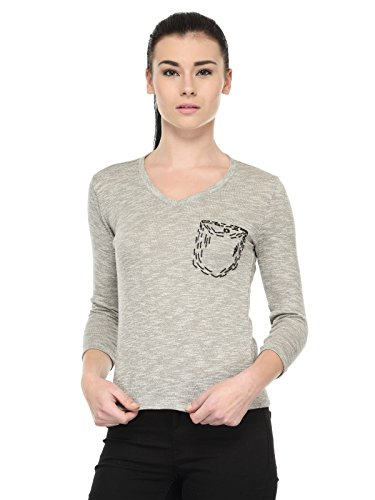 Tunic Nation Women's Grey 100% cotton Knitted top with hand work
