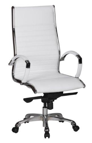 AMSTYLE Bürostuhl SALZBURG 1 Bezug Echt-Leder Weiß Design