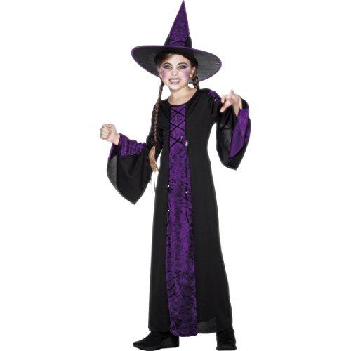 Kinder Hexenkostüm Hexen Kostüm mit Hut L 10-12 Jahre 140-158 cm Hexe Halloweenkostüm Magierin Kinderkostüm Zauberin Faschingskostüm Witch Kleid Horrokostüm Mädchen Kostüme (Kostüm Hex Mädchen)