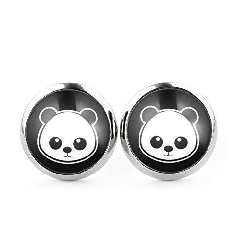 Womens Panda Bär Kostüm - SCHMUCKZUCKER Unisex Ohrstecker Panda Modeschmuck Silber-farben Schwarz Weiss 12mm