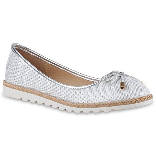 Damen Slipper Loafers Lack Metallic Schuhe Flats Profilsohle Silber Beige Weiss