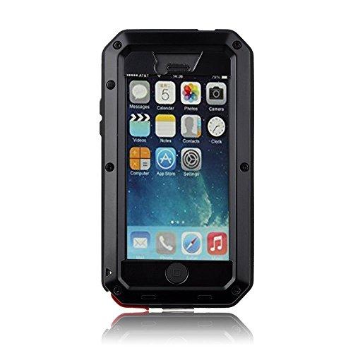 iPhone 5Fall, Lisana Aluminium stoßfest staubdicht Wasserdicht Gorilla Glas Metall Schutzhülle für iPhone 5/5S (Iphone 5s Fällen, Gorilla-glas)