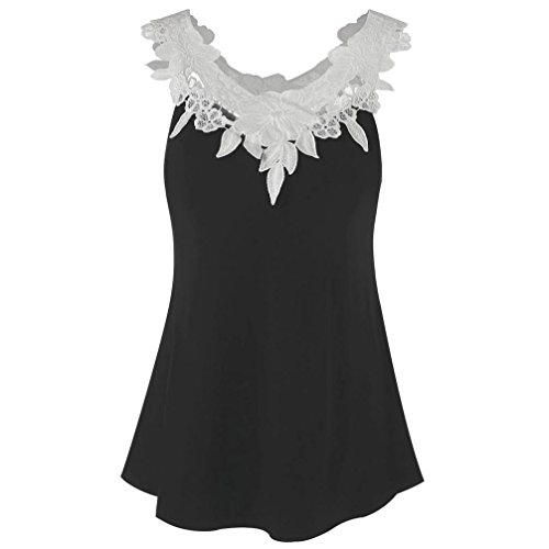 ZIYOU Schlinge Oberteile Tops Frauen, Mode Beiläufig Weste/Elegante Damen Sommer Rundhals T-Shirt Einfarbig Ärmellos Tanktops mit Bandagen (Schwarz/Weiß-C, EU-46/CN-2XL)