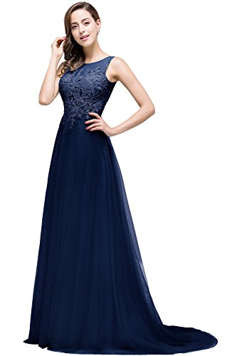 Damen Prinzessin Ballkleid lang Tüll A-Linie Abschlusskleider Lang Navy Blau 36