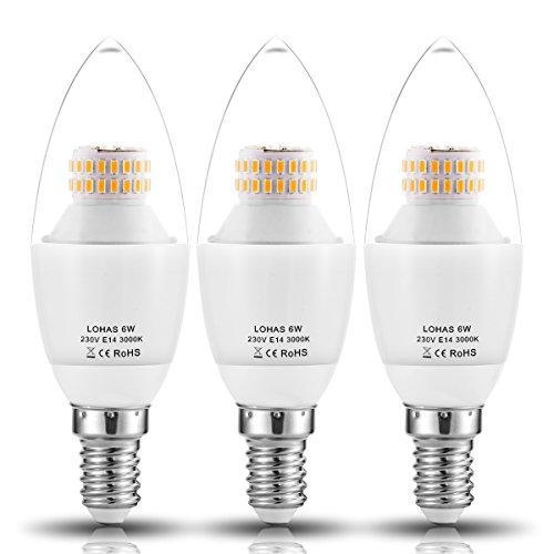 (3er Pack Warmweiß)LOHAS® 6W E14 C37 LED-Kerzenform, LED-Kerzenlampe , Ersatz für 60W Halogenlampen, 550LM, 3000K, 360°Abstrahwinkel, Nicht-Dimmbar, LED Kerzenleuchten, LED Leuchtmittel