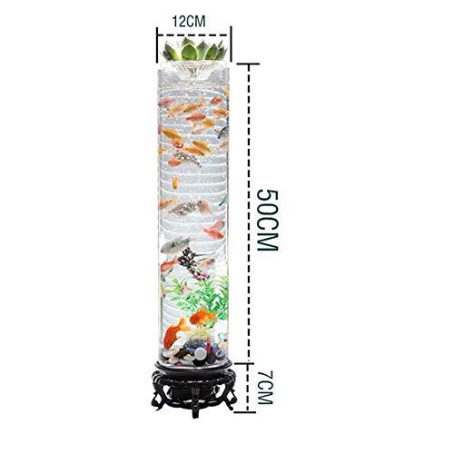 Stehend Barrel Fish Tank 360 Ultra Clear Glass Fish Bowl Desktop-Mini Ökologische Aquarium-Raum-Dekor mit LED-Luftpumpe-Form (Color : Clear, Size : L) -
