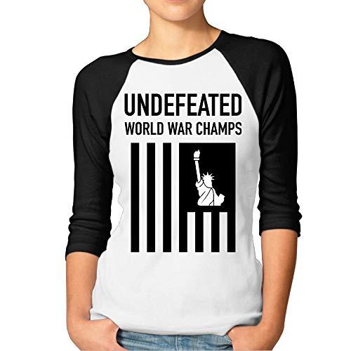 Champ Fitted T-shirt (Undefeated World War Champs Beautiful Women 3/4 Sleeve Raglan Funny Shirt)
