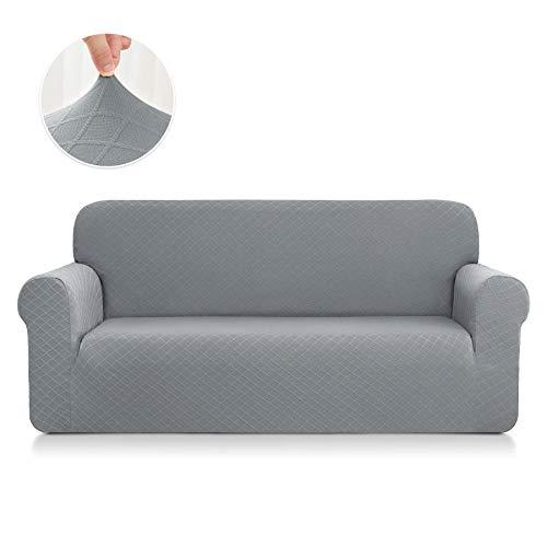 CHUN YI Rhombus Elastisch Sofaüberzug, Sofahusse, Sofabezug für Sofa, Sofaschutz (2-Sitzer, Hellgrau)