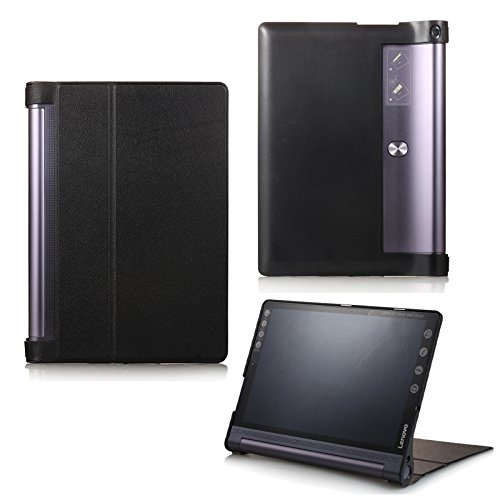Schutzhülle für Lenovo Yoga Tab 3 10 Plus YT-X703F/L & Lenovo Tab 3 10 Pro YT3-X90F aufstellbares Smart Cover Case mit Wake und Sleep Funktion (Schwarz) + GRATIS Stylus Touch Pen
