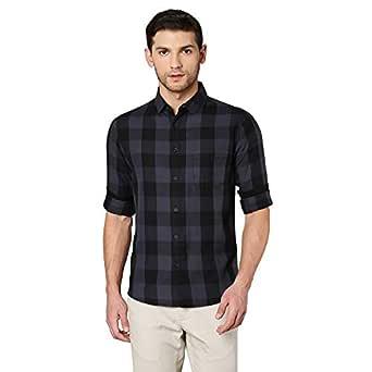 Dennis Lingo Men's Checkered Grey Slim Fit Casual Shirt (C442_Grey_S)