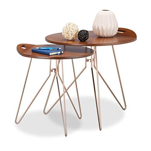 Relaxdays Beistelltisch 2er Set Holz, Metallgestell, Retro-Design (Walnuss), Couchtisch Holz, moderner Look, braun (Retro Beistelltisch)
