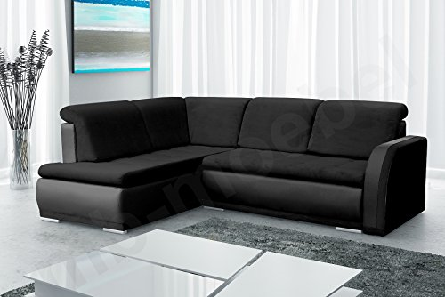 Ecksofa Sofa Eckcouch Couch mit Schlaffunktion und Bettkasten Ottomane L-Form Schlafsofa Bettsofa Polstergarnitur - VERO II (Ecksofa Links, Schwarz)