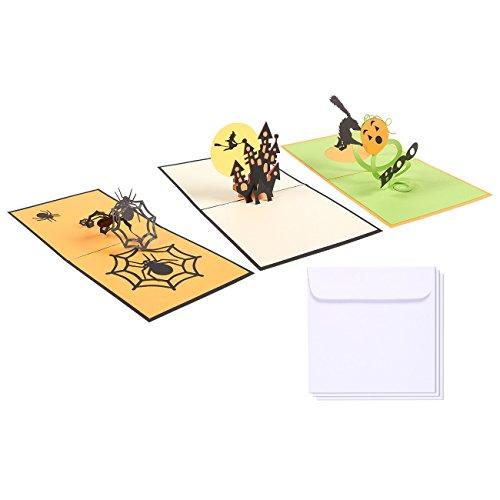 ußkarten - 3D Pop Up Karten mit Spider, Hexe und 'Boo' - inkl. Umschläge, 11,9 x 11,9 cm ()