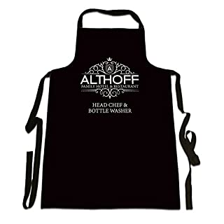 'Althoff Family Hotel And Restaurant, Head Chef And Bottle Washer', Personalised Family Surname, Humorous Design, Great Quality Canvas Apron, Size 25in x 35in approximately