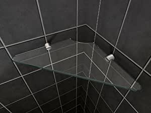 Tag re d 39 angle tablette en verre s curis pour douche 8 - Tablette douche verre ...