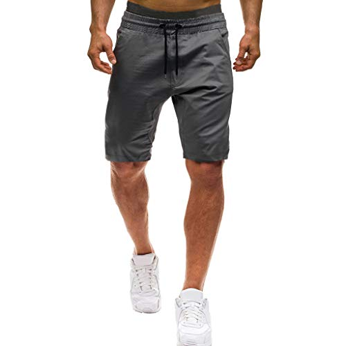 kolila Herren Casual Shorts Regular Fit Sommer Elastische Taille Joggings Sport Baggy Mens Kurze Hosen Shorts(Grau,M) -