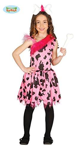 Guirca Steinzeit Kostüm für Mädchen Höhlenmensch Höhle Neandertaler rosa pink Gr 98-146, - Höhle Mädchen Kostüm