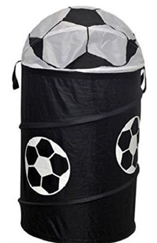 football-pop-up-laundry-hamper-washing-basket-storage-black-and-white-by-tesco