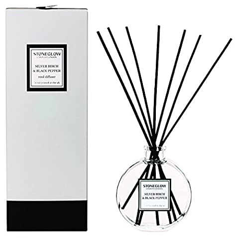 Modern Classics Scented Reed Diffuser By Stoneglow - SILVER BIRCH & BLACK PEPPER. Gift Boxed