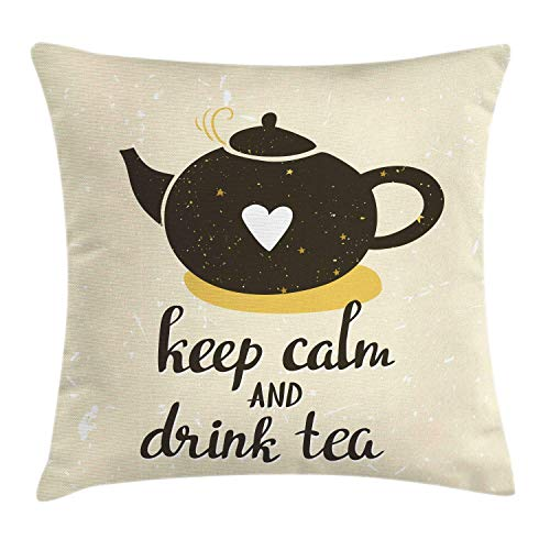 MLNHY Keep Calm Throw Pillow Cushion Cover, Drink Tea Lettering with Heart on Lovely Teapot, Decorative Square Accent Pillow Case, Dark Olive Green Pale Earth Yellow Eggshell,26 X 26 Inches -