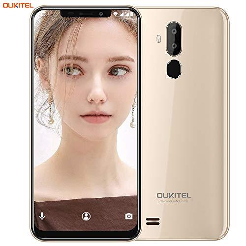 "OUKITEL C12 Smartphone Libre, 6.18"" HD 19:9 IPS Pantalla, Quad-Core 2GB RAM+ 16GB ROM, 3G Android 8.1 Dual SIM Teléfono móvil,Cámara 8MP+5MP,3300mAh,Face ID (Oro)"