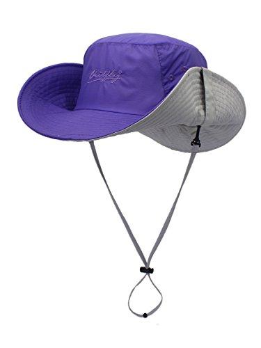 Ultraleicht UV Sonnenhut Fischer Hut Strand Hut mit 9,5cm Breiter Krempe Outdoor Sports Strand Two Way to Wear - für Kopfumfang 56-62cm Purpur