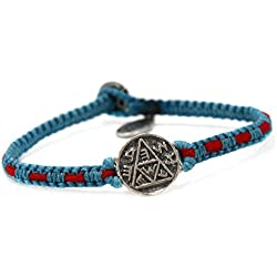 Pulsera Macramé con sello de Salomón amuleto hecho a mano Azul