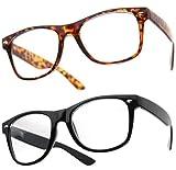 PIPEL® Lot de 2 Paires de Lunettes Monture style Wayfarer Geek Retro Vintage 80's - Monture Noir + Ecaille marron - Verre Neutre Transparent - Fashion - Tendance