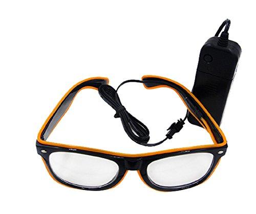 UTOVME EL Leuchtbrille Party Club LED Leuchten Brillen Partybrille Eyeglasses Nicht blendet mit Batterie Box Gelb