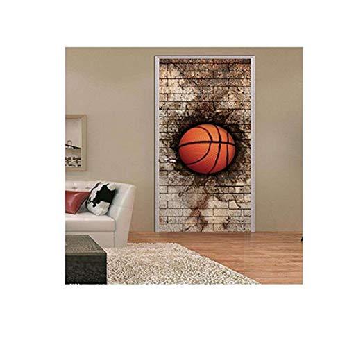 Wandkunst Deco Malerei Retro Dreidimensionale Ziegel Basketball Tür Aufkleber Dekorative Wandkunst Poster Diy Wandaufkleber 77X200 Cm Weihnachten