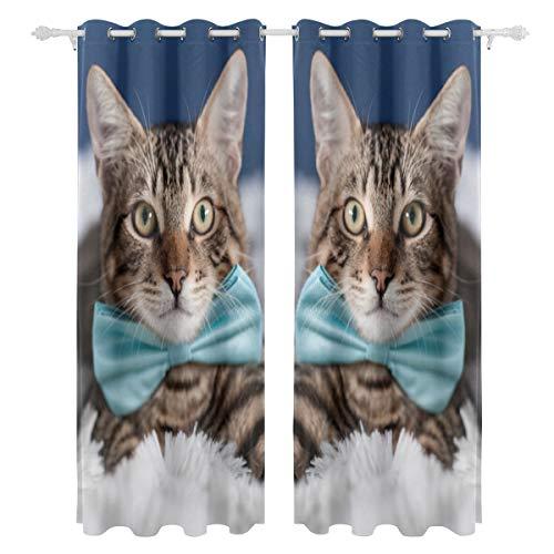 Kostüm Set Cutie - Tie Ribbon Cute Funny Cat einseitige Druck Blackout Vorhänge Vorhänge Fensterbehandlung Duschvorhang Panels Für Schlafzimmer Wohnzimmer Küche Bad 55 X 78 Zoll 2 Stücke