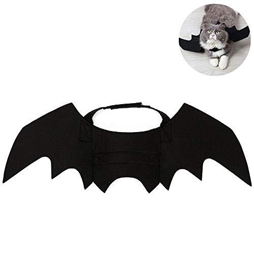 AUOKER Halloween-Kostüm, Fledermaus-Flügel, für Haustiere, Katzen, Hunde, Halloween, lustige und süße Halloween-Party, Plüsch-Kleid, Kleidung für Katzen, Katzen, Schwarz