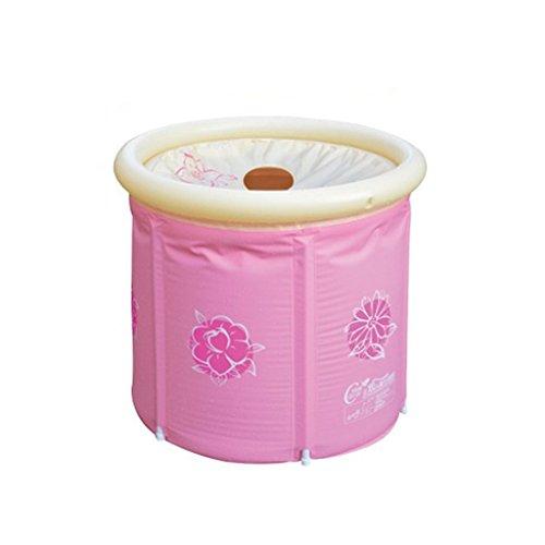 Lpymx,vasca da bagno imbottita vasca da bagno per adulti vasca da bagno pieghevole vasca da bagno in plastica cestino per vasca da bagno portabottiglie pond pink vasca da bagno