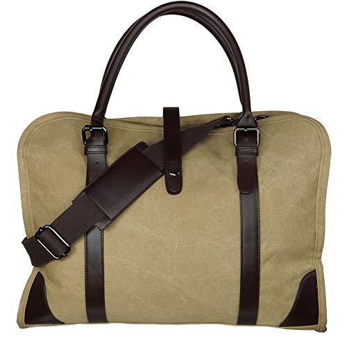 enger Bag Umhängetasche Aktentasche Schultertasche aus Canvas und Leder (Beige) ()