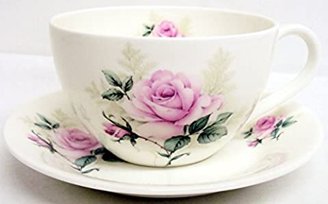 Majestic Rose Breakfast Cup & Saucer Fine Bone China Pink Rose Large Cup Saucer Set Hand Decorated in
