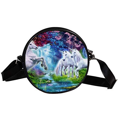 TIZORAX Einhorn-Handtasche für Damen, Mädchen, Weiß mit blühenden Bäumen und Blumen und Taubenflüssen -