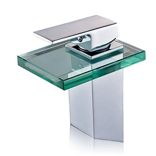 DP Grifería Bambú - Grifo de lavabo monomando de cristal, efecto cascada, color plata