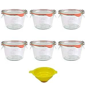 Viva Haushaltswaren 6 x kleines Weckglas/Einmachglas 250 ml mit Deckel in Sturzform, leeres Rundrandglas zum Einkochen - als Marmeladenglas, Dessertglas (inkl. Klammern, Ringen & Trichter)