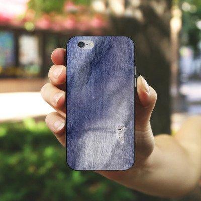 Apple iPhone SE Tasche Hülle Flip Case Grau Jeans Farben Look Muster Silikon Case schwarz / weiß