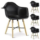 IDIMEX 4er Set Esszimmerstuhl Design Retro Konferenzstuhl Emilio, aus Hartschale mit Armlehnen, in schwarz