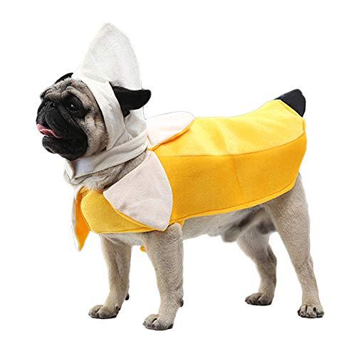 Lustiges Haustier Hund Katze Halloween Kostüme, Bananen Cosplay Anzug Haustier Outfit Anzug Kleidung Für Hunde Katze Pet Puppy Dog Cat Pet Clothes,L (Hunde Banane Kostüm)