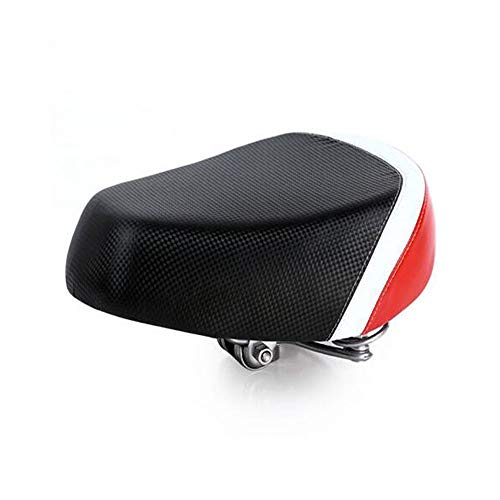 Aishanghuayi Elektro-Fahrradsattel, Eisen-Shell-Basis verbreitert Fahrradfeder Stoßdämpfer Batterie Autosattel, Elektro-Fahrrad Sitzkissen, schwarz rot (Color : Black red, Size : 29.5 * 22.5 * 8.5Cm) -