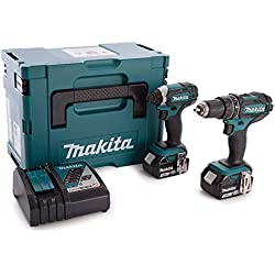 MAKITA DLX2131JX Perceuse visseuse à percussion + visseuse à chocs + 2 batteries 18V 3Ah Li-ion + coffret Makpac