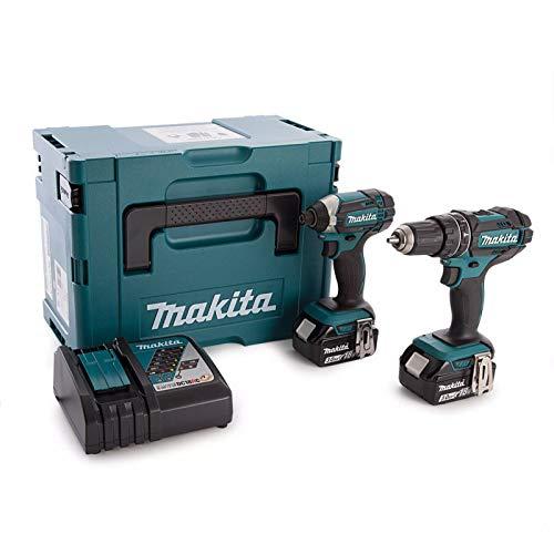 Makita dlx2131jx  kit composto da trapano e avvitatore a percussione, 2 batterie 18v 3ah li-ion,  custodia makpac
