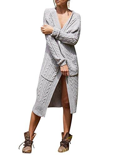 Simplee Apparel Damen Lang Strickjacke V-Ausschnitt Kabel Cardigan Strickmantel mit Taschen Grau
